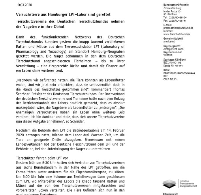 Die Pressemitteilung des Deutschen Tierschutzbundes