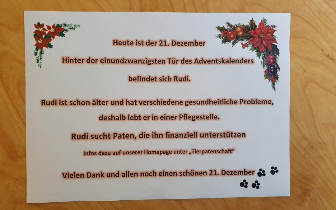 Heute ist der 21. Dezember und wir öffnen ein weiteres Türchen